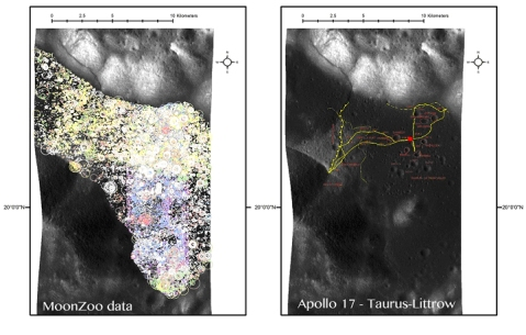 Figure 1. On the right we see the MoonZoo users crater input. Different colours relate to different NAC images basemaps. On the left we see the A17 landing site (red dot) and the astronauts exploration paths and stations.